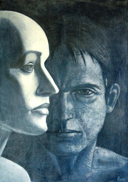 """""""Next To Me"""". Large figurative symbolistic painting. by Rumen Spasov"""