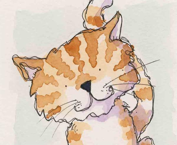 Watercolour Cat by Claire Keay