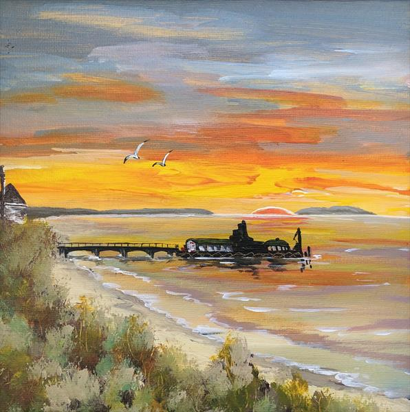 Winter sunrise over Bournemouth Pier by Marja Brown