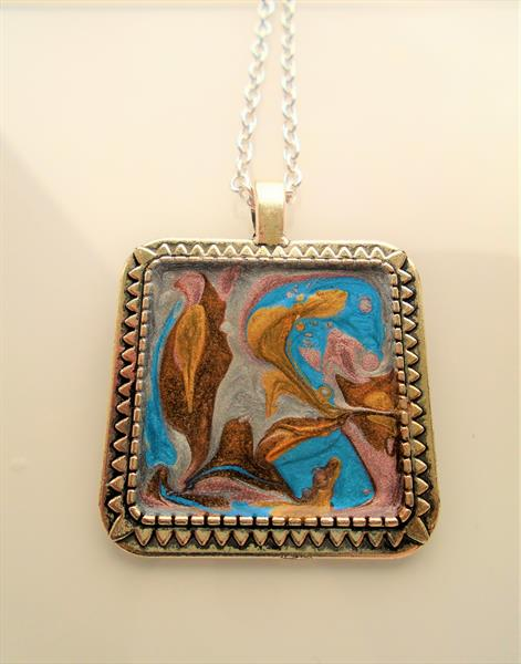 Hand Painted Tibetan Silver Square Pendant by Brenda Newton