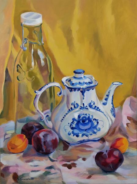 Still Life with Gzhel Teapot by Svetlana Gavrisheva