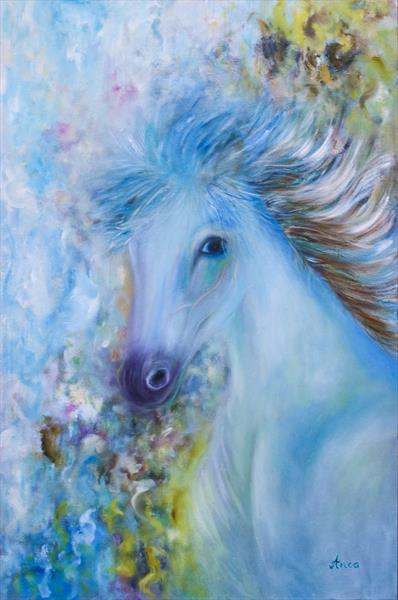 Horse painting, animal paintings by Florentina(anca)  popescu