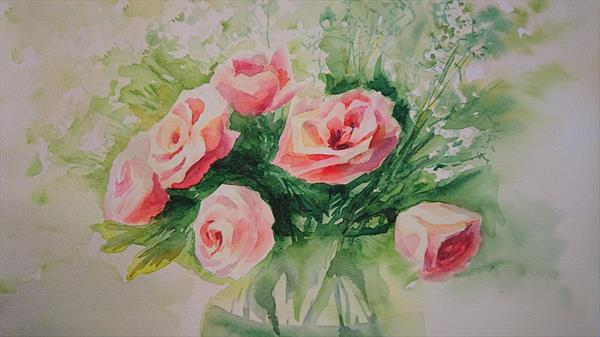 Spring summer flowers bright roses by Elena Haines