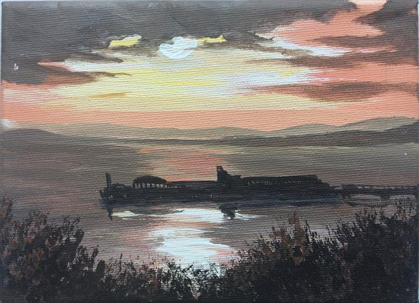 Dusk over Bournemouth Pier on a mini canvas by Marja Brown
