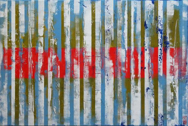 Abstract Painting - Red & Blue Stripes D7