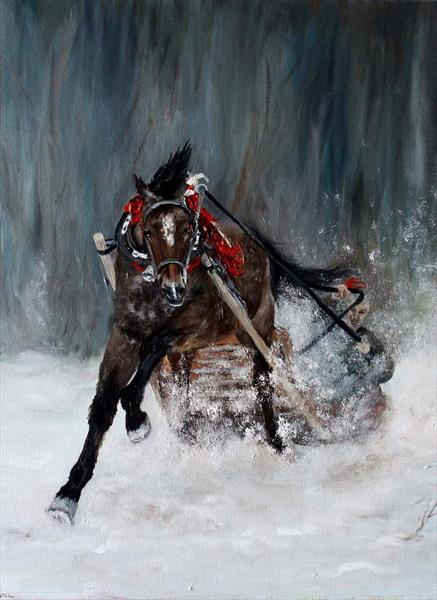 THE HORSE WITH SLEIGH IN THE SNOW by Kate Lesinska