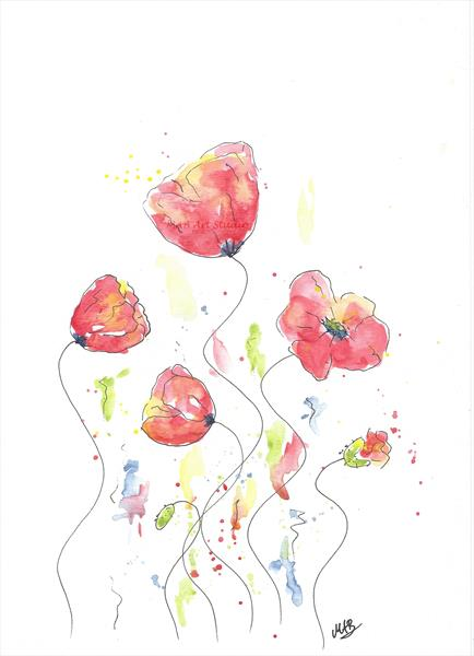 Watercolor Poppy Painting – Original Watercolor Art