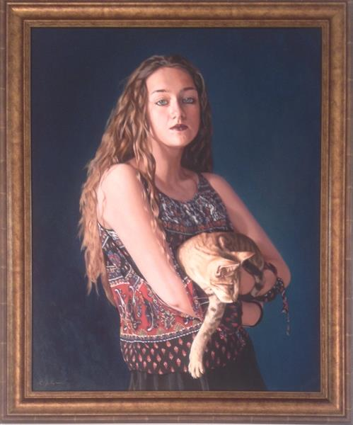 Girl with an Oriental cat  (framed original)