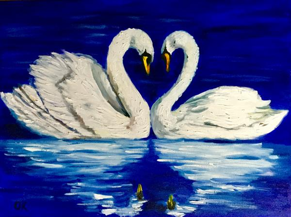 Happy swans in love. Wedding present idea. by Olga  Koval