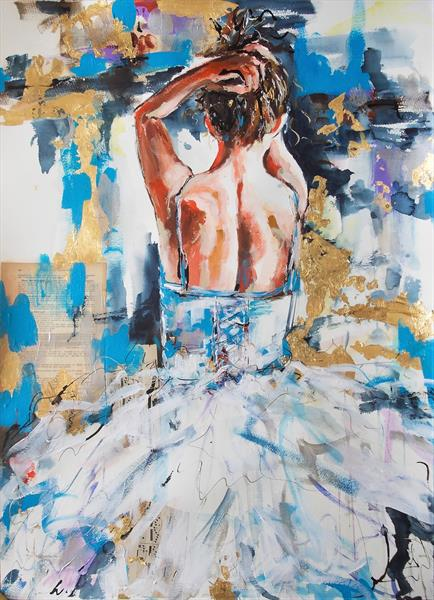 Blue Pirouette-Ballerina Acrylic Mixed Media Painting on paper by Antigoni Tziora