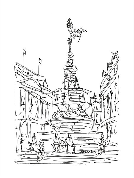 Piccadilly Circus London (Sketch) by Brian Keating