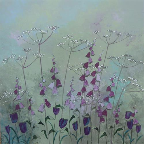 Foxgloves and Cow Parsley by Elaine Allender