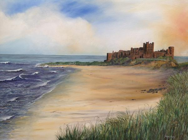 Sunset Over Bamburgh by Terence Stevens