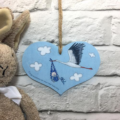 Baby boy glossy vinyl print heart shaped plaque