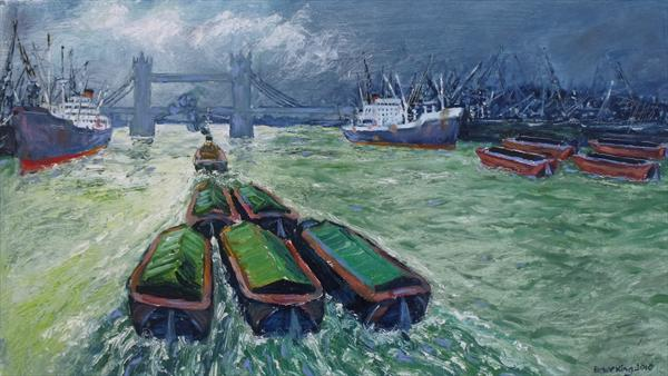 Barges Under Tower Bridge by Peter King