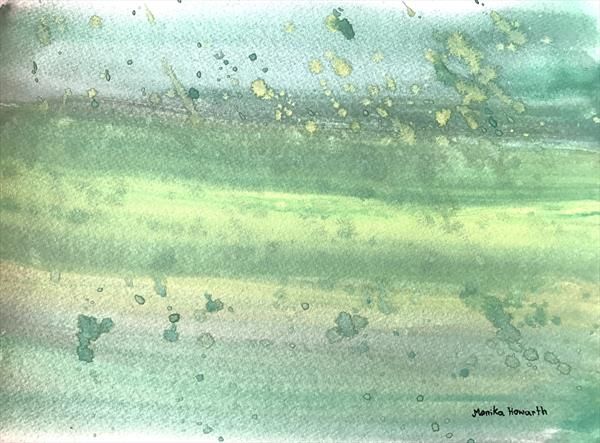 Green abstract watercolour  by Monika Howarth