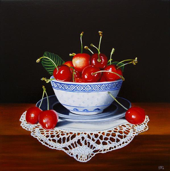 Cherries on lace by Jean-pierre Walter