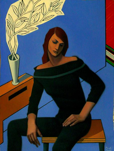 Seated Woman In Geometric Space by Paul Rossi