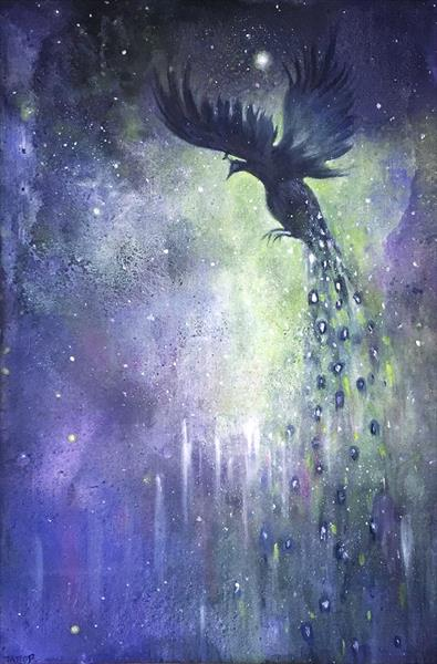 Moon Shadow - A Mystical Moonlit Starlit Scene With Peacock In Flight by Jennifer Taylor