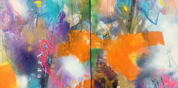 open mind I (diptych) by Bea Garding Schubert