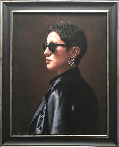 Girl in the leather jacket ( framed original oil ) by Christopher Gill