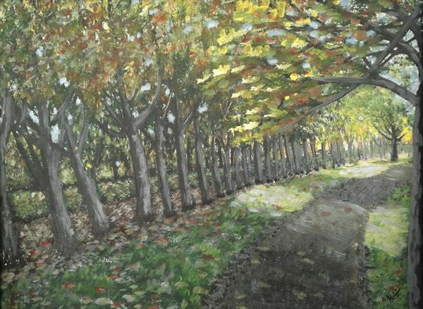 A walk through the autumn leaves - hand painted scene on canvas. This pretty tree alley exists in re by Natasha Durgan