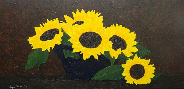 Summer Kiss - sunflower painting by Liza Wheeler