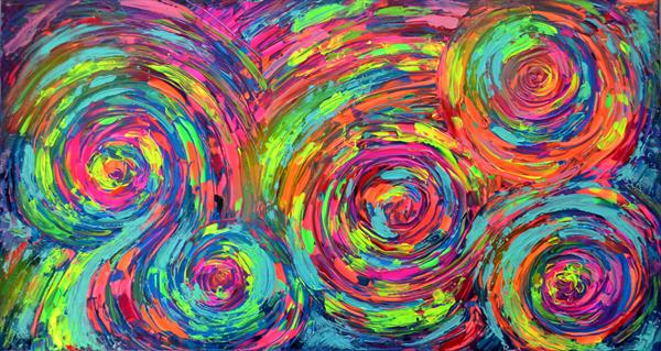 Gypsy Dance 3 - Ready to Hang Large Abstract Painting, 130x70 cm by Soos Tiberiu - Anton