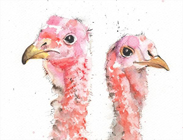 Concerned Turkeys - A4 watercolour and ink drawing by Luci Power