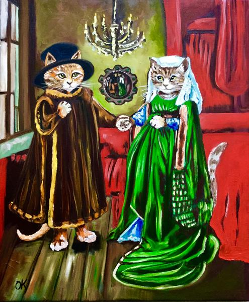 The Arnolfini Marriage. Feline art by Olga  Koval