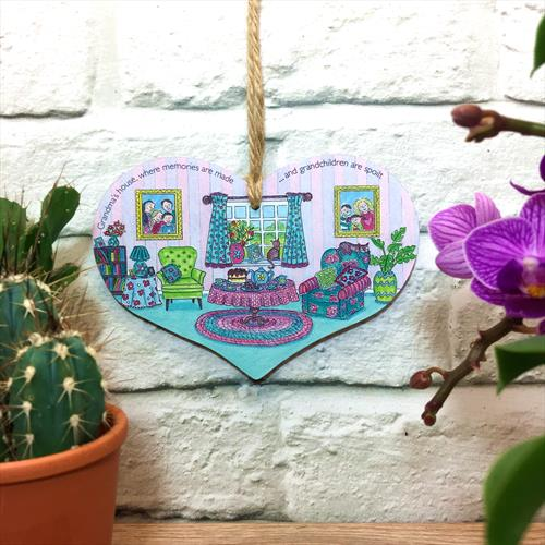 Grandma glossy vinyl print heart shaped plaque with quote  by Lisa-Marie Davies