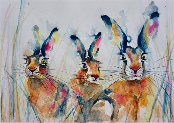 Hares in the field No2 by Anna Pawlyszyn