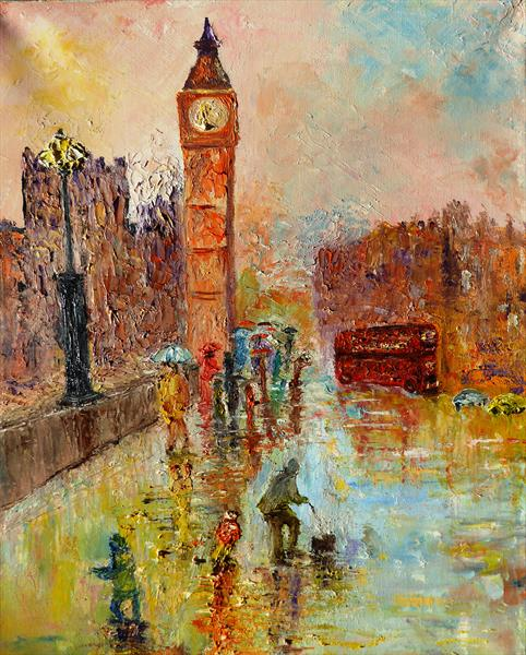 London in the rain by Mary Ann Day