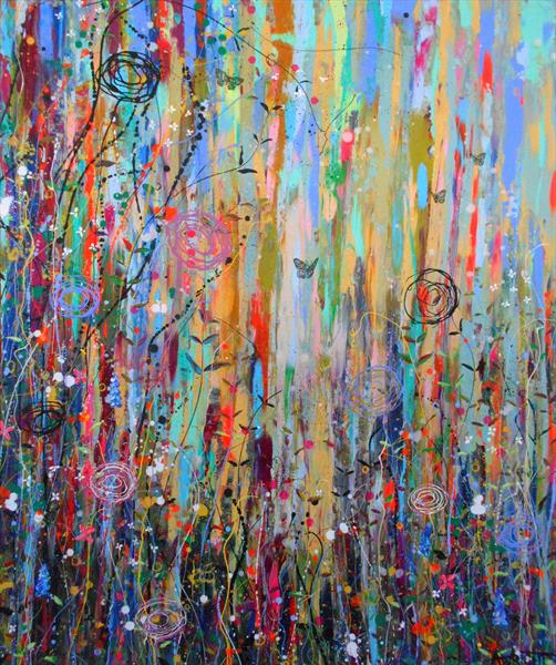 Deviant Delights and Wild Roses- Large painting by Angie Wright
