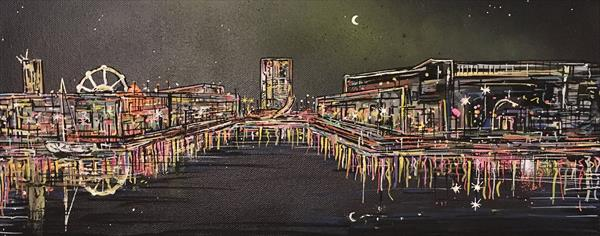 Bristol Harbourside at night (Canvas) by John Curtis