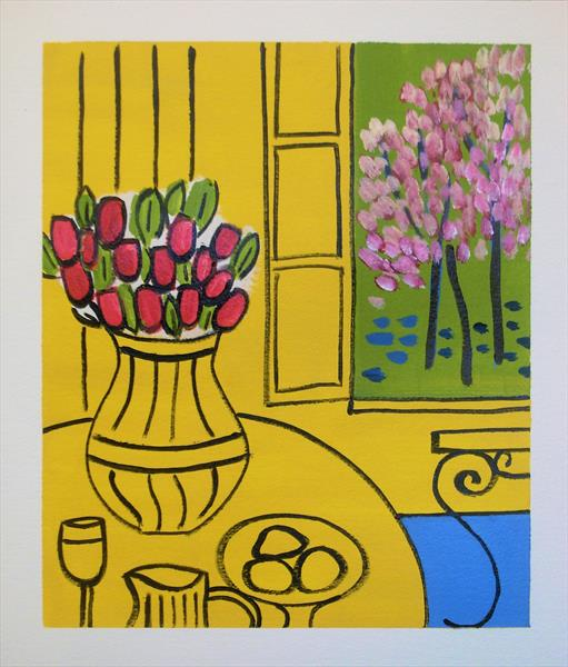 Yellow Interior and Blossom Trees by Jan Rippingham