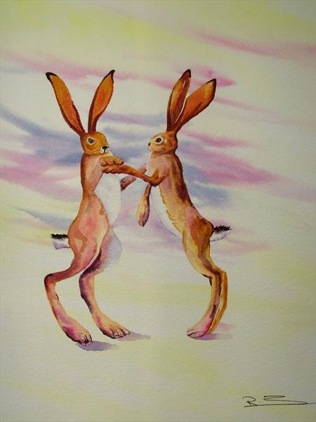 Boxing Hares 2 by Ricky Figg