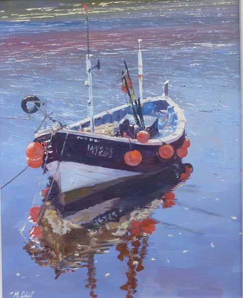 Staithes Boat - Framed by Michael Salt