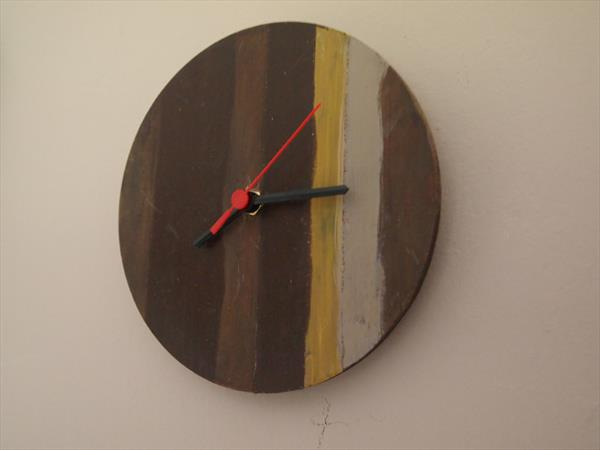 Brown hand painted wall clock by Steph Morgan