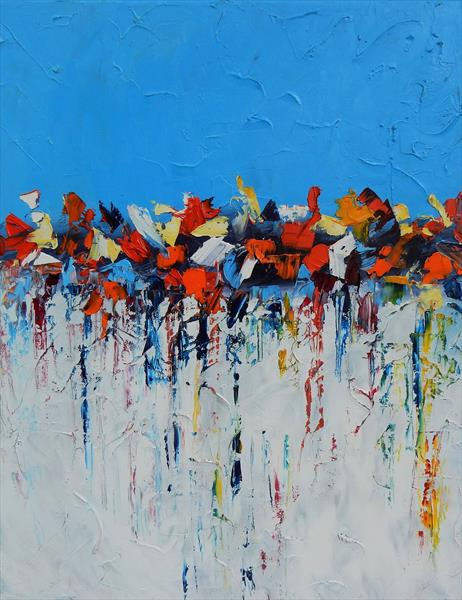 Symphony in blue. Abstract oil painting. Palette knife. by Vita Schagen