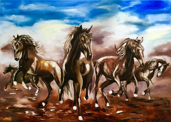 Landscape with horses. by Olga  Koval