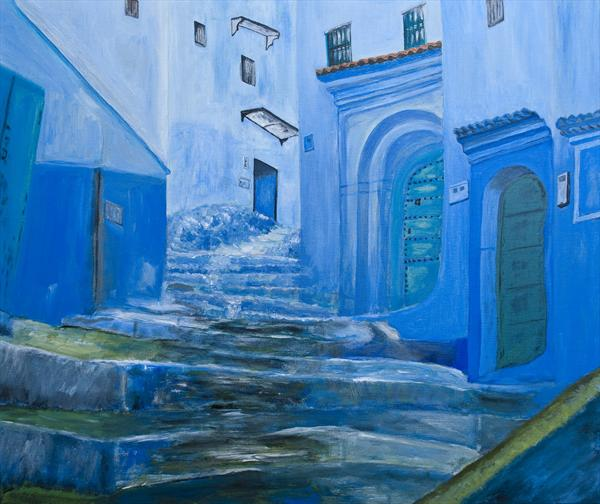 Street in Chefchaouen, Morocco by Lana Enderle