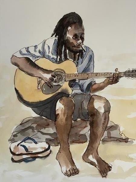Beach Musician by Wendy Clouse