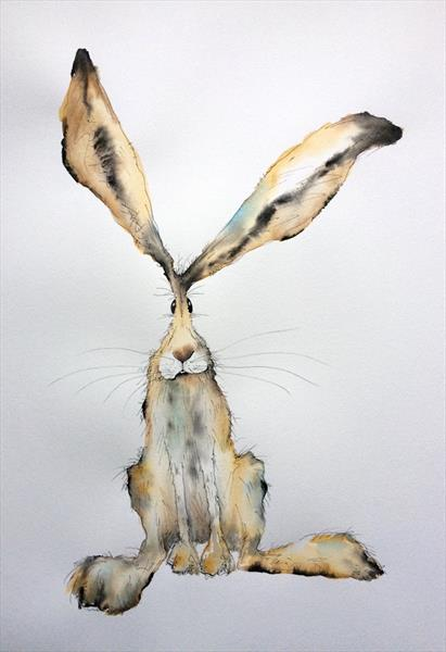 'Miles' Original Hare Watercolour by Becca Fielding