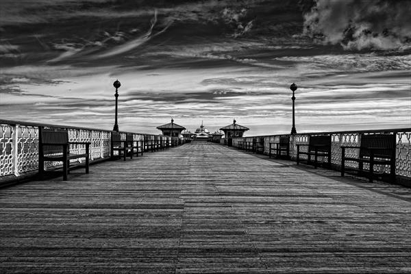 Llandudno Pier in Black and White by Jason Oliver