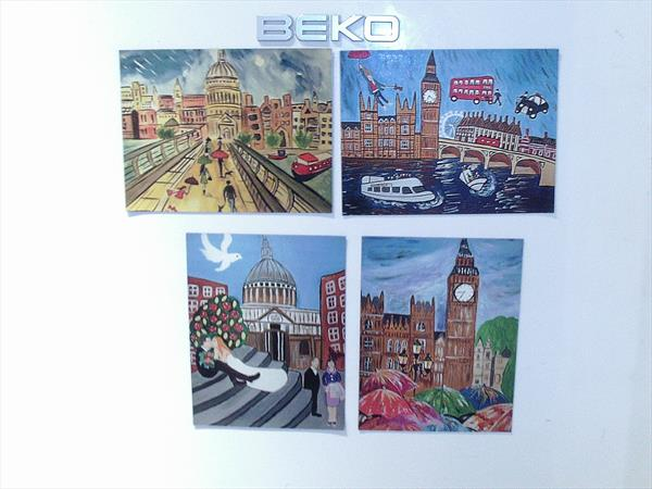 4 Quirky London scene Fridge Magnets by Casimira Mostyn