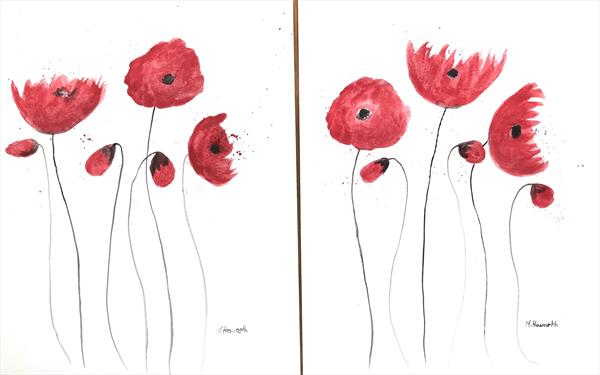 Red poppies set of 2 (9X12) by Monika Howarth