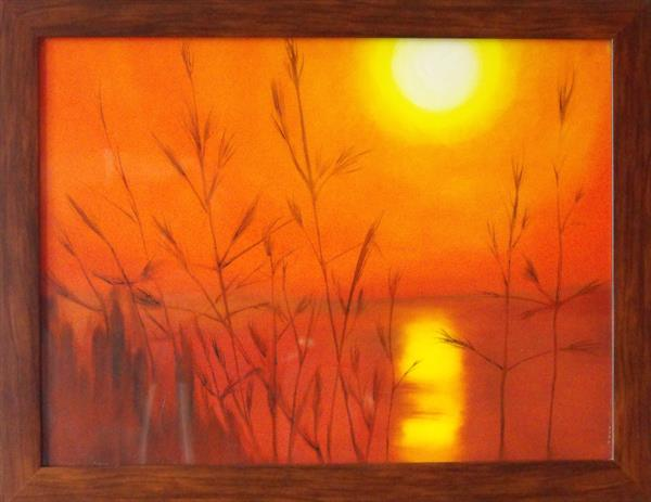 Sunset over saltmarshes by Jane Finch