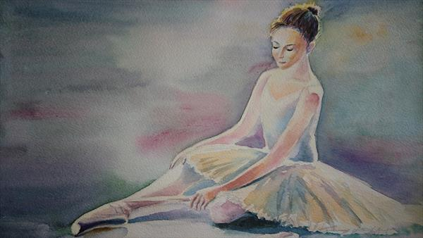 Ballet dancer ballerina with pointe shoes Winsor & Newton Artist watercolour paper A3 by Elena Haines