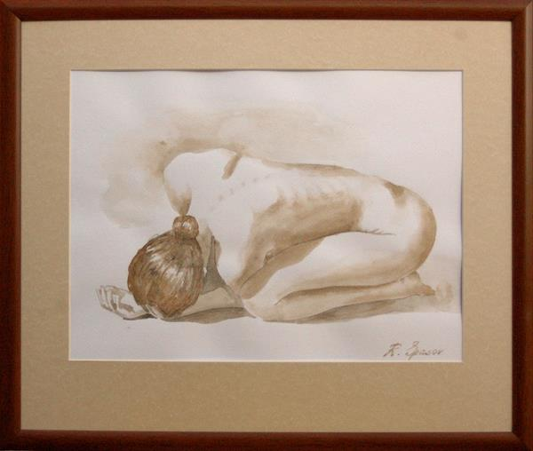Nude Study. Original watercolor. Aquarelle. Matted and framed. by Rumen Spasov